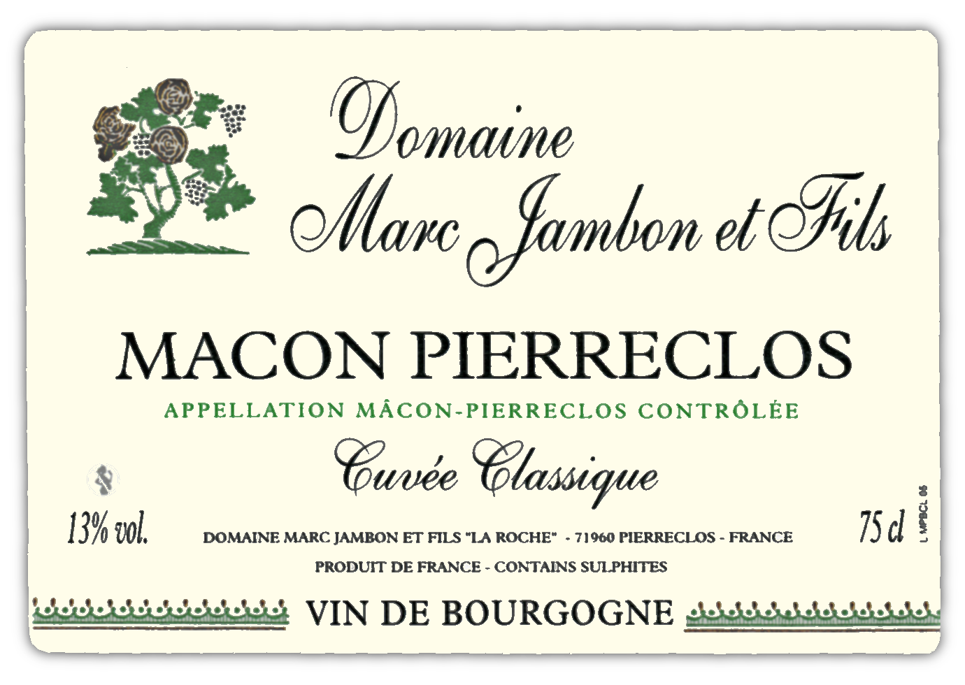 Macon-Pierreclos blanc cuvée classique Domaine Marc JAMBON et Fils