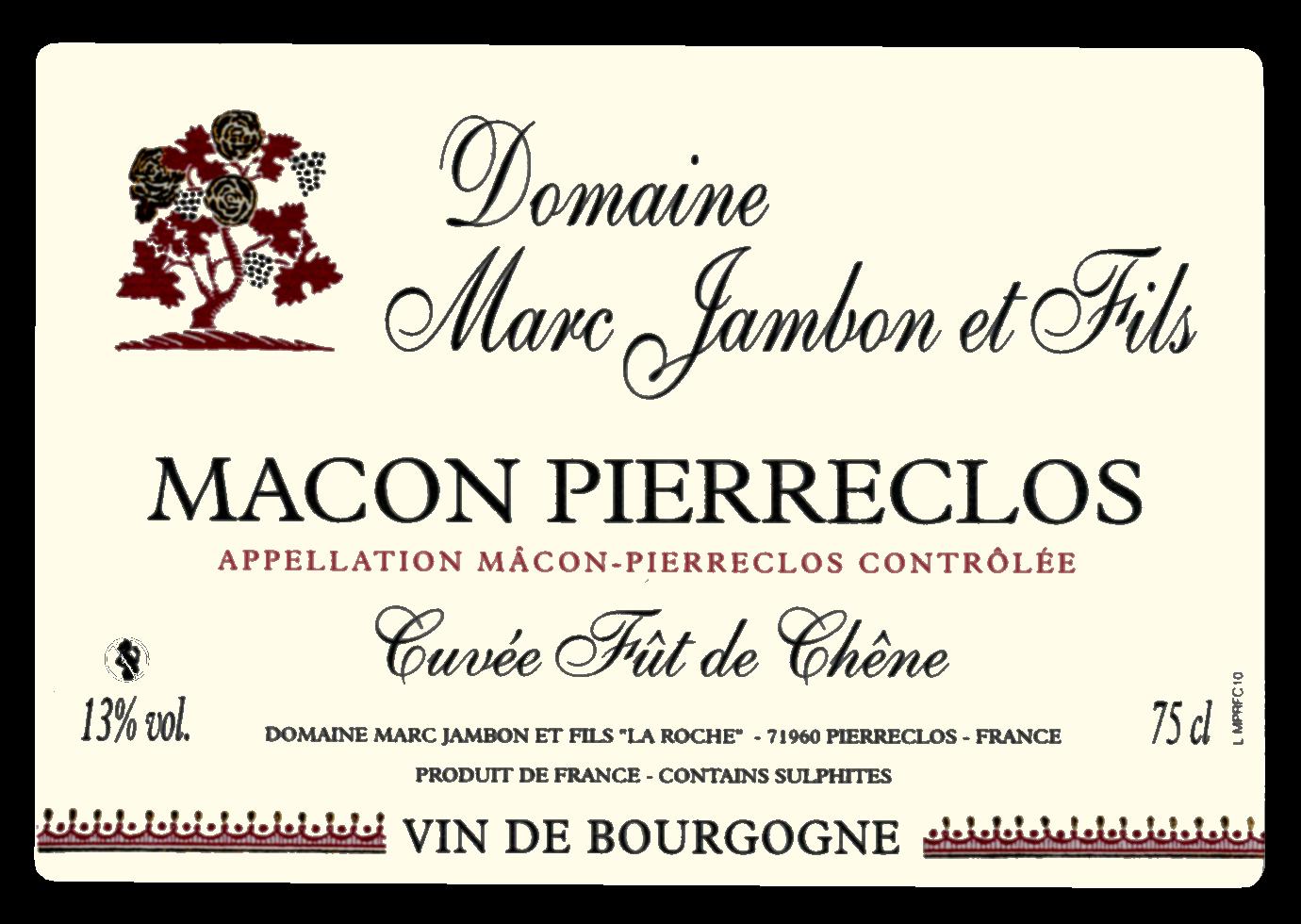 Mâcon-Pierreclos rouge Cuvée Fût de chêne Domaine Marc JAMBON et Fils