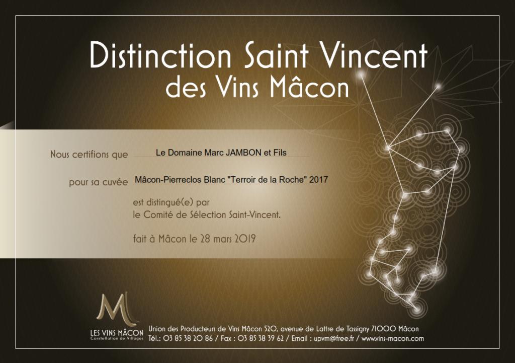 """Mâcon-Pierreclos Blanc """"Terroir de la Roche"""" 2017 - Domaine Marc JAMBON et Fils à PIERRECLOS - Distinction Saint-Vincent Macon 2019"""